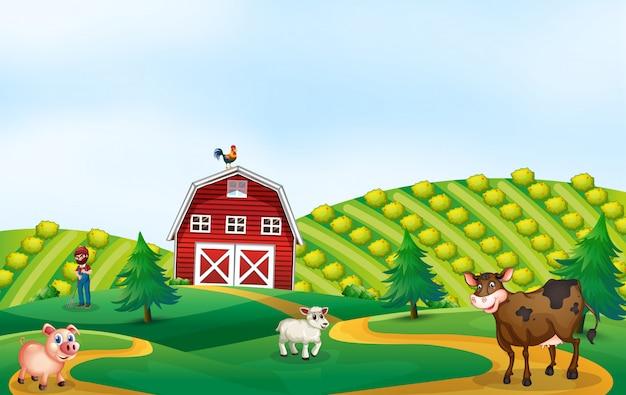 Un paisaje de tierras de cultivo de la naturaleza. Vector Premium
