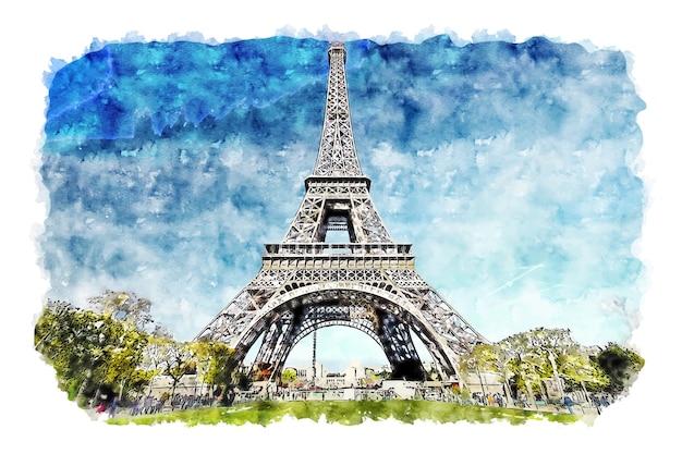 Paisaje torre eiffel parís francia acuarela dibujo dibujado a mano ilustración Vector Premium