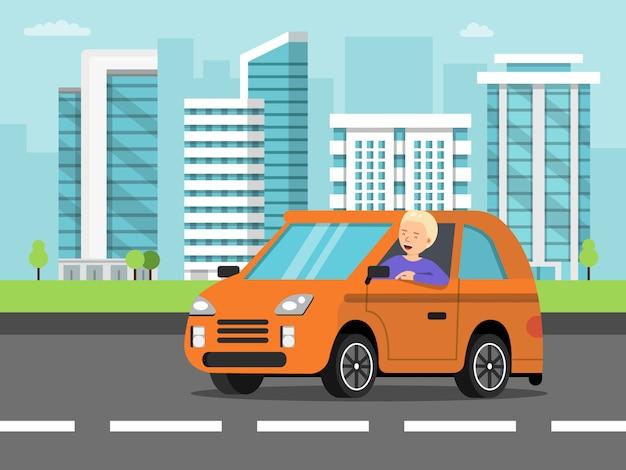 Paisaje urbano con coche y conductor. Vector Premium