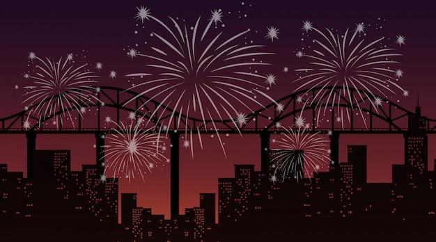 Paisaje urbano con escena de fuegos artificiales de celebración vector gratuito