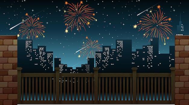 Paisaje urbano con fuegos artificiales de celebración vista desde el puente vector gratuito