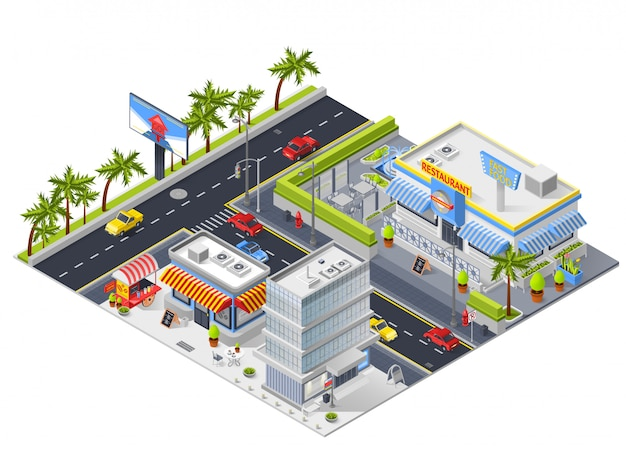 Paisaje urbano isométrico con restaurante de calle vector gratuito