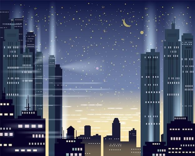 Paisaje urbano metrópolis luces nocturnas de una gran ciudad Vector Premium