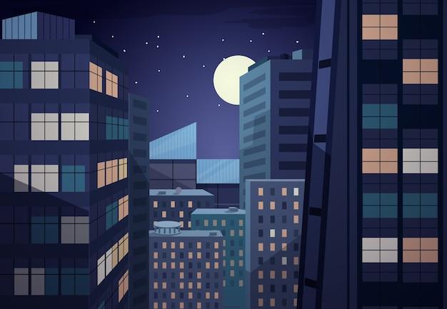 Paisaje urbano de la noche del vector. diseño urbano, oficina comercial, luna y cielo. vector gratuito