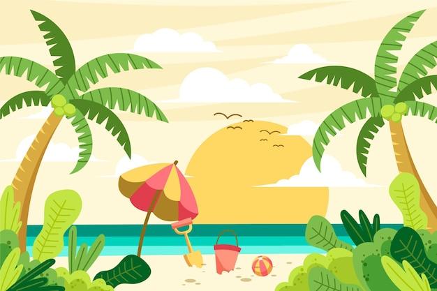Paisaje de verano - fondo para zoom vector gratuito