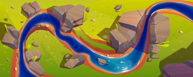 Paisaje con vista superior del río vector gratuito
