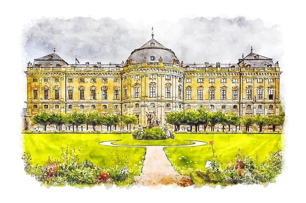 Paisaje wurzburg residencia alemania acuarela dibujo dibujado a mano ilustración Vector Premium