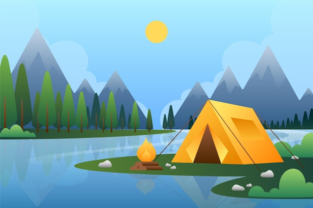 Paisaje de la zona de acampada vector gratuito