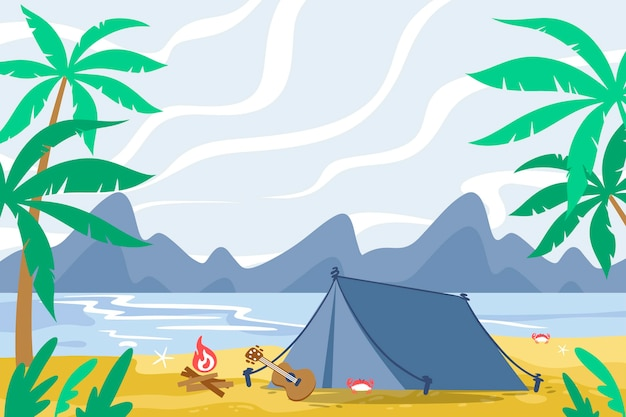 Paisaje de la zona de acampada Vector Premium