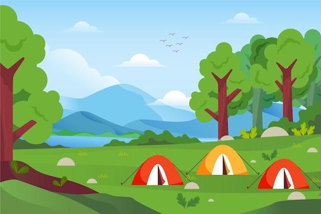 Paisaje de zona de camping de diseño plano con carpas. vector gratuito