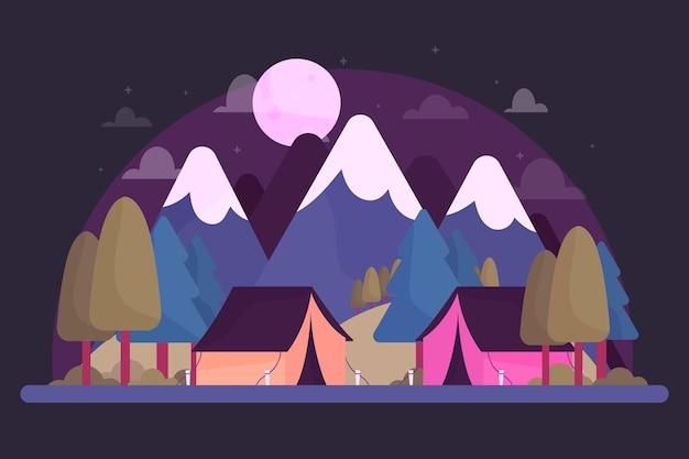 Paisaje de zona de camping con montañas. Vector Premium