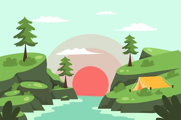 Paisaje de zona de camping con puesta de sol Vector Premium
