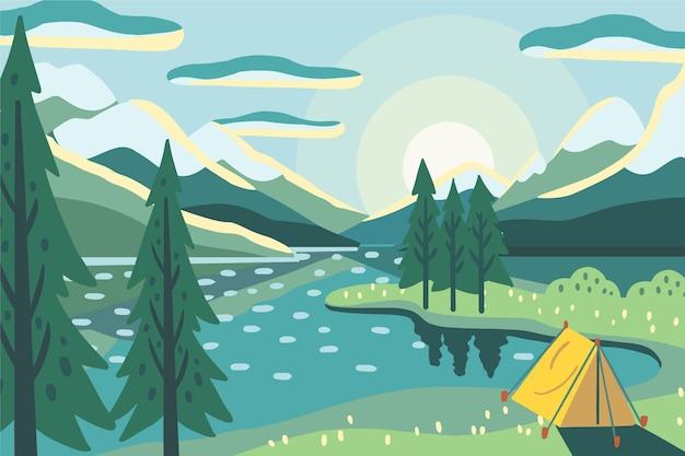 Paisaje de zona de camping con tienda y lago. Vector Premium
