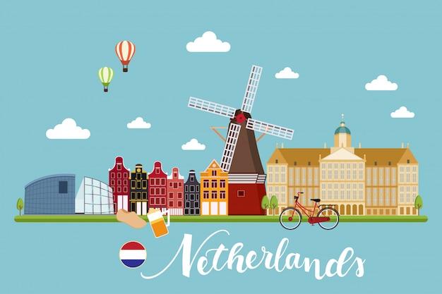 Países bajos viajes paisajes ilustración vectorial Vector Premium