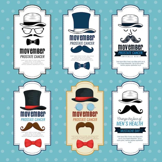 Pajarita con sombrero y bigote vector gratuito