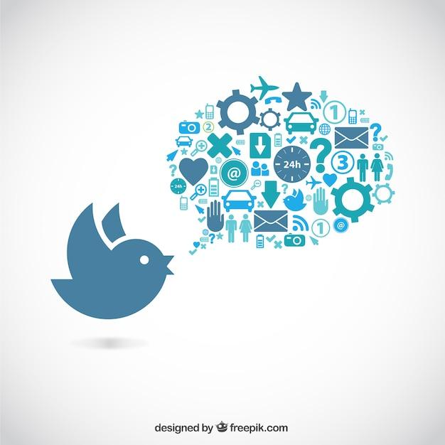 Pájaro y burbuja de diálogo llena de iconos vector gratuito
