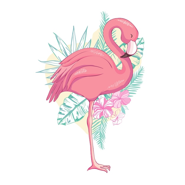 Pájaro flamenco Vector Premium