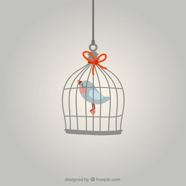 Pájaro en una jaula vector gratuito
