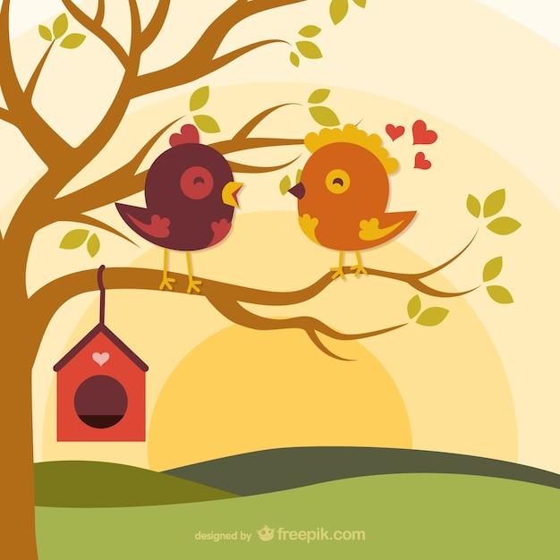 Pájaros Del Amor De Dibujos Animados En La Rama Descargar Vectores