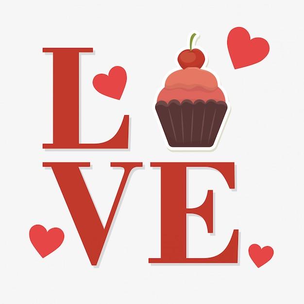 Palabra de amor con cupcake vector gratuito