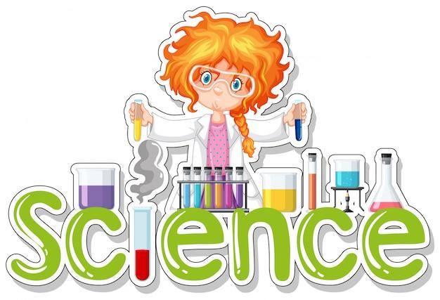 Palabra para ciencia con chica haciendo experimento vector gratuito