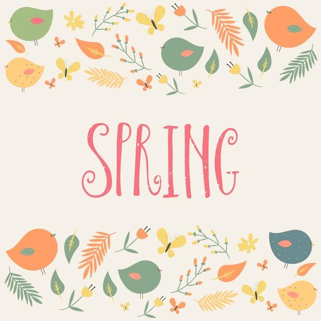 Palabra de primavera y pájaros con hojas   Descargar Vectores Premium