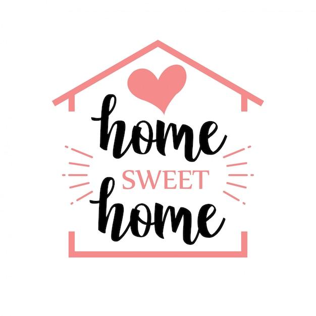 Palabra manuscrita hogar dulce hogar. ilustración vectorial Vector Premium