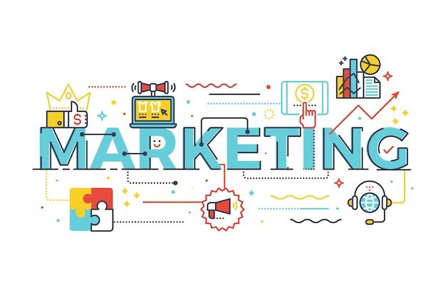 Palabra de marketing en ilustración de diseño de concepto de negocio letras con iconos de línea Vector Premium
