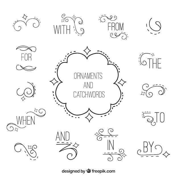 Palabras claves con detalles ornamentales dibujados a mano vector gratuito