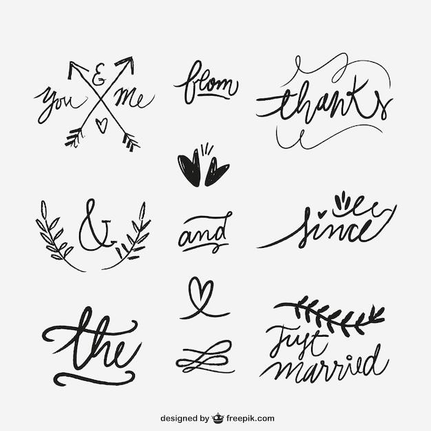 Palabras escritas a mano de la boda vector gratuito