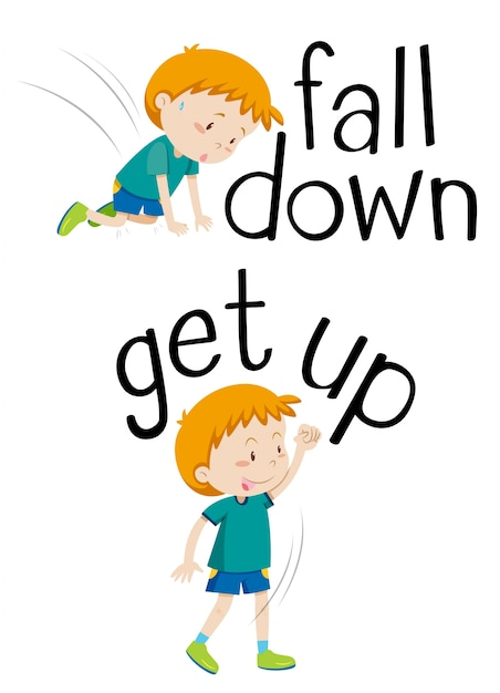 Palabras opuestas para caer y levantarse | Descargar Vectores gratis