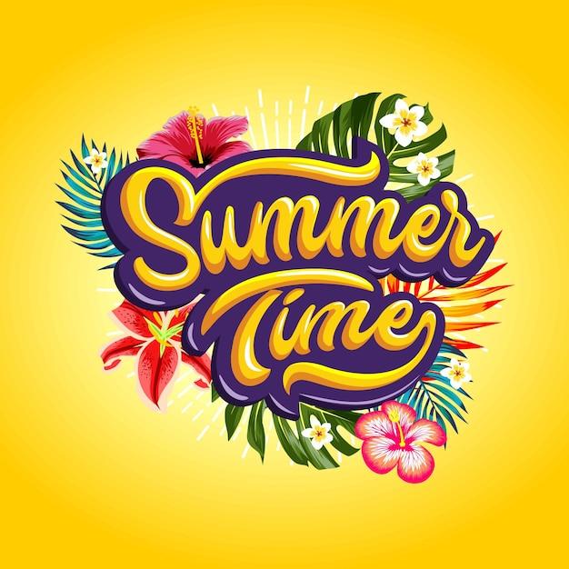 Palabras de verano con plantas tropicales Vector Premium