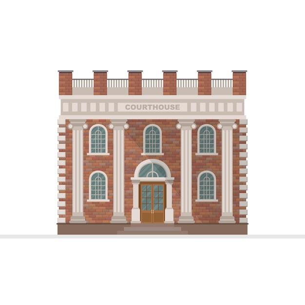 Palacio de justicia edificio ilustración aislado sobre fondo blanco. Vector Premium