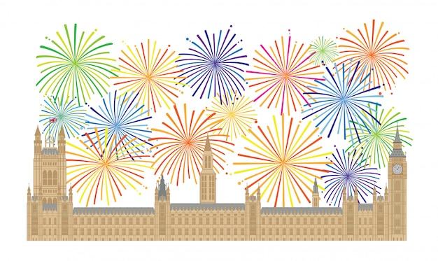 Palacio de westminster y la ilustración de fuegos artificiales Vector Premium