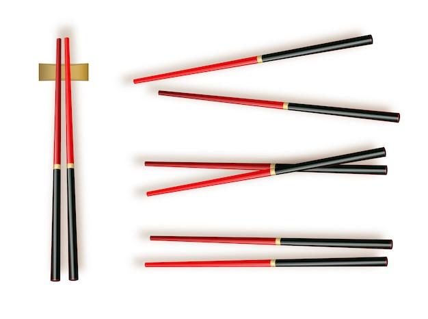 Palillos. establecer accesorios para sushi aislado Vector Premium