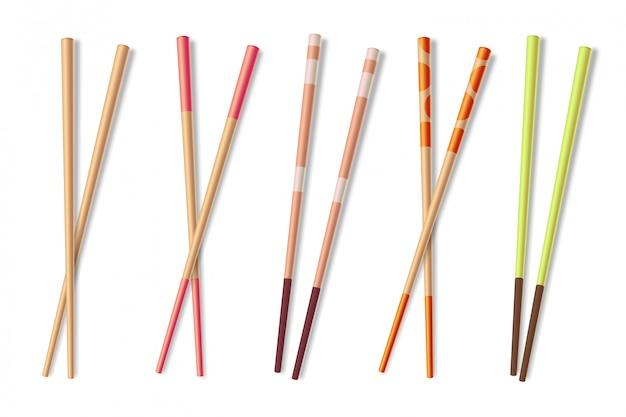 Palillos. madera asiática comiendo palos. bambú chino comida closeup palillos ilustración aislada Vector Premium