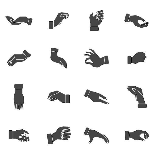 Las palmas de la mano agarrando conjunto de iconos negros vector gratuito