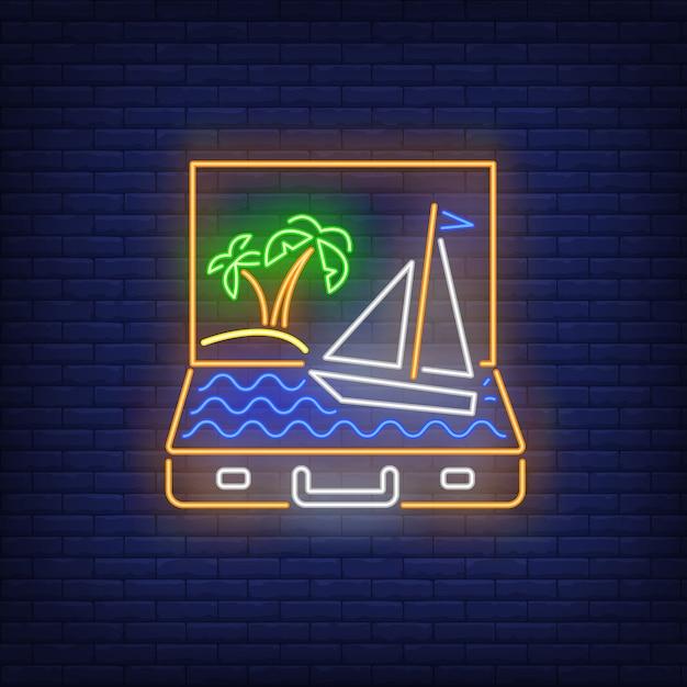 Palmeras y barco navegando en maleta abierta letrero de neón. vector gratuito