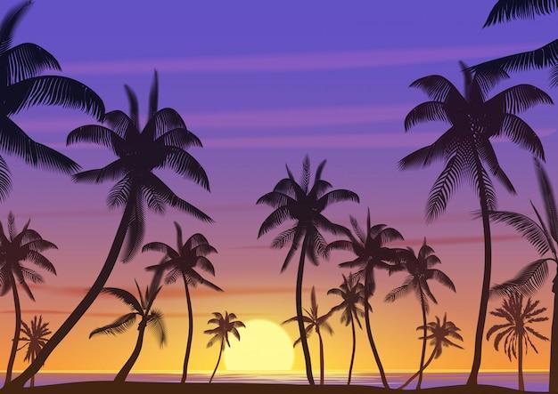 Palmeras de coco en el paisaje del atardecer o amanecer Vector Premium