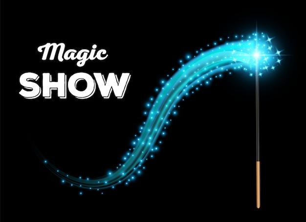 Palo mágico con brillo, herramienta de varita mágica brillante. Vector Premium