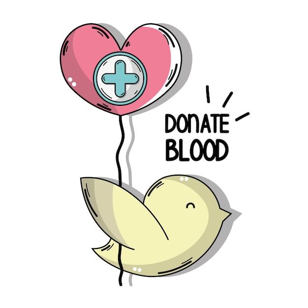 Paloma con globo corazón con cruz símbolo clínico | Descargar ...