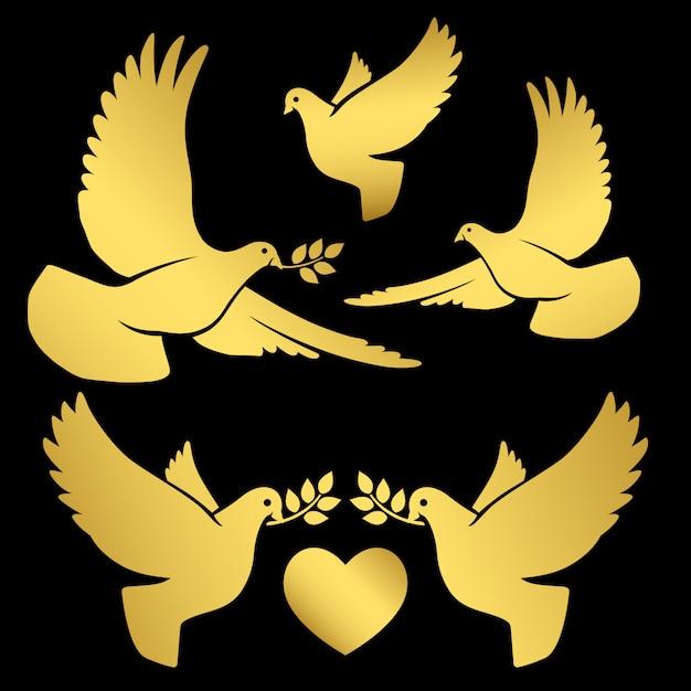 Palomas voladoras doradas sobre negro Vector Premium