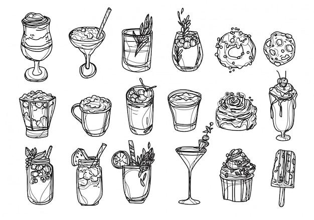 Panadería café y jugo set dibujo a mano y boceto en blanco y negro Vector Premium