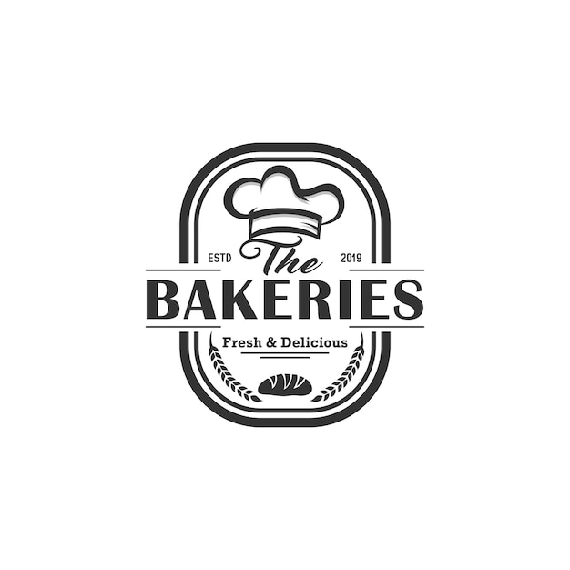 Panadería vintage logo vector Vector Premium