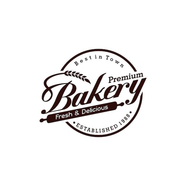 Panadería vintage logo Vector Premium