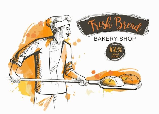 Panadero con pala sacando pan del horno. Vector Premium