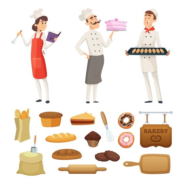 Panaderos masculinos y femeninos en el trabajo. personajes en diferentes poses. Vector Premium