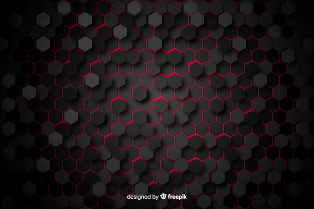 Panal negro con luz roja entre celdas vector gratuito