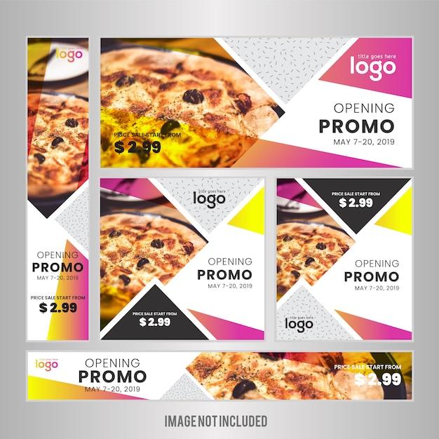 Pancarta de comida fijada para restaurante Vector Premium