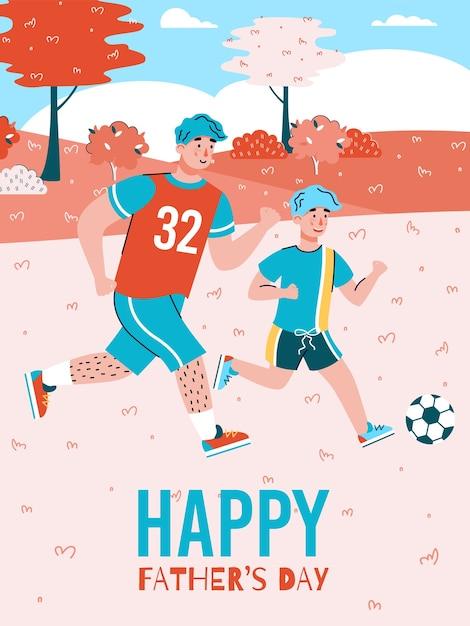 Pancarta o póster del día del padre con papá e hijo jugando al fútbol juntos, plano de dibujos animados. plantilla de fondo de la tarjeta de felicitación del día del padre. Vector Premium